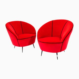 Metal and Velvet Armchairs by Federico Munari, 1950s, Set of 2