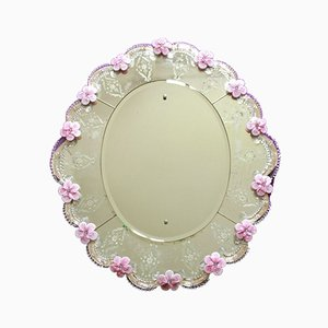 Large Murano Glass Veigelia Wall Mirror with Pink Flowers, Italy, 1930s