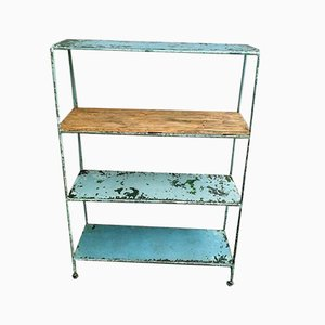 Vintage Industrial Blue Steel Shelving Unit