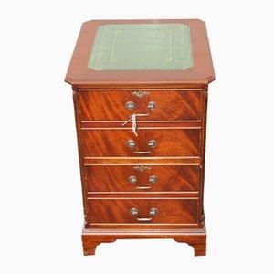 Small Mahogany & Green Leather Cabinet, 1960s
