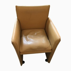 Kamelfarbene Leder 401 Break Stühle von Mario Bellini für Cassina, 1970, 6er Set