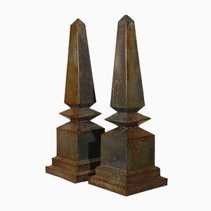 Vintage Modernist Zinc Obelisks, 1930, Set of 2