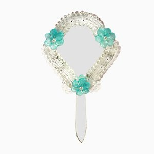 Vintage Italian Mid-Century Modern Murano Glass Azzurra Mirror, 1950s