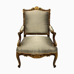 Louis XV Style Walnut & Parcel Gilt Armchair