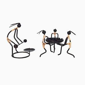 Mid-Century Aschenbecher aus Draht & Rattan & Kerzenhalter von Bror Bonfils, 2er Set