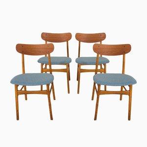 Dänische Mid-Century Stühle aus Teak & Eichenholz, 4er Set