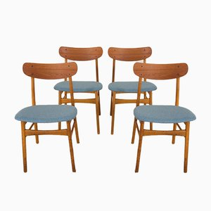 Mid-Century Danish Teak and Oak Chairs, Set of 4