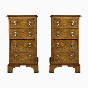 Antique Walnut Bedside Chests of Drawers, Set of 2