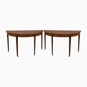 Georgian Mahogany Console Tables, Set of 2