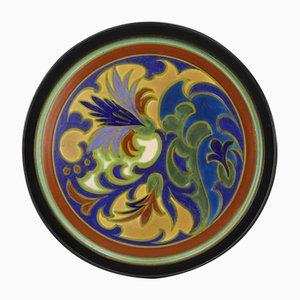 Großer Art Deco Gouda Keramik Teller