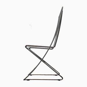 Vintage German Kreuzschwinger Lounge Chair by Till Behrens for Meyer Stahlmöbel, 1980s