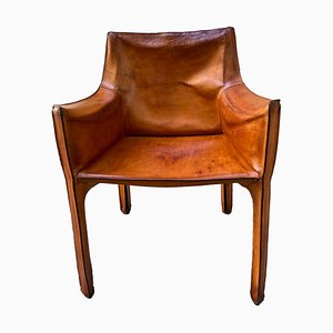 Leather Cab Lounge Chair by Mario Bellini for Cassina, Italy, 1970s