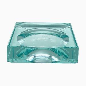 Quadratischer grüner Aschenbecher aus Kristallglas von Fontana Arte, 1960er