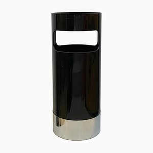 Black and Chrome Umbrella Stand by Gino Colombini for Kartell, Italy, 1970s