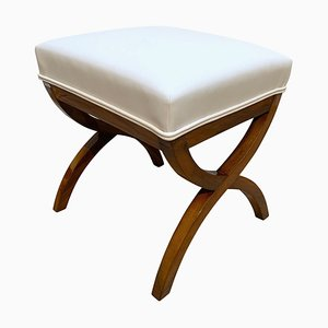 Biedermeier Stool in Walnut & White Faux leather, South Germany, 1840s