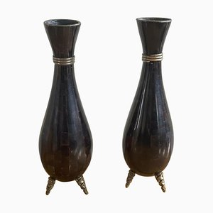 Tessellated Stone Vase from Maitland-Smith, 1980s, Set of 2
