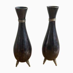 Tessellated Stone Vase von Maitland-Smith, 1980er, 2er Set