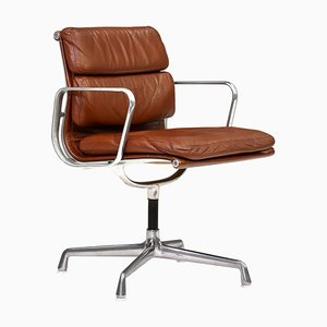 Aluminum EA208 Soft Pad Chair in Tan Leather by Eames for Herman Miller, 1970s