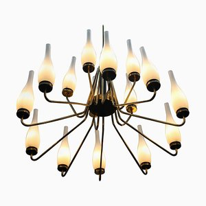 Large Brass Chandelier With Vase-Shaped Glasses, Italy, 1950s