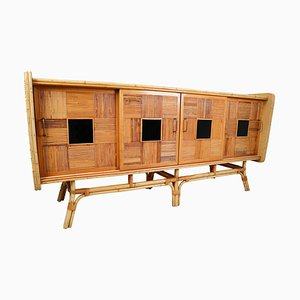 Large Mid-Century Bamboo Cabinet or Dresser, France, 1950s