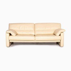Cremefarbenes 3-Sitzer Sofa aus Leder von Bielefelder Werkstätten