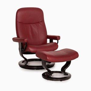 Red Leather Stressless Garda Armchair & Stool Set