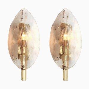 Stylishe Mid-Century Modern Wandlampen in Blatt-Optik von Kalmar, 2er Set