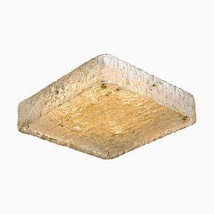 Große quadratische Einbau- Deckenlampe aus Strukturglas von JT Kalmar
