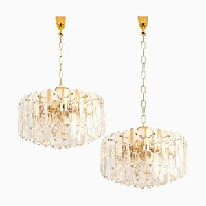 Large Palazzo Light Fixtures in Gilt Brass and Glass from Kalmar