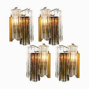 Smoked and Clear Glass Wall Lights by J. T. Kalmar, Austria, 1960s