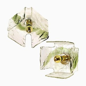 Green Hand Blown Flush Mounts or Sconces from Kalmar, 1960s