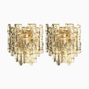 Austrian Ice Glass Wall Sconces by J.T. Kalmar for Cor, 1970s, Set of 2