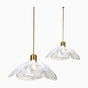 Large Glass Ceiling Lights by Kalmar for Isa, 1970s, Set of 2