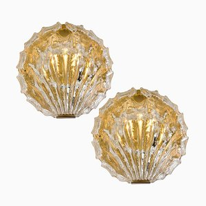 Golden Ice Glass Wall Sconces from Kalmar, 1960s, Set of 2