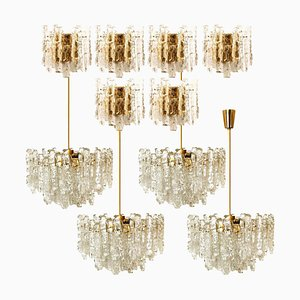 Ice Glass Light Fixtures from J.T. Kalmar for Cor, Set of 10