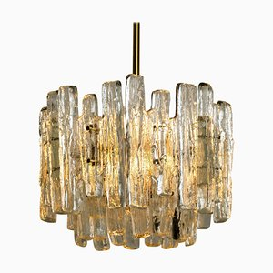 Brass & Ice Glass Pendant by J.T. Kalmar for ISA, 1970s