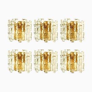 Austrian Ice Glass & Brass Wall Sconces from J.T. Kalmar