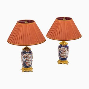 19th Century Imari Porcelain Lamps, Set of 2