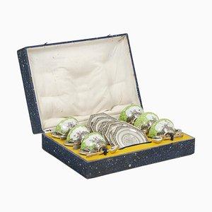 Seladon Tee Service aus Porzellan & versilbertem Metall, 1920er