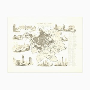 Alessandro Lescano, Map of Ancient Rome, Original Etching, 1848