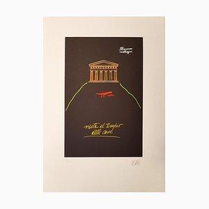 Litografia di Fabio De Poli, The Temple of Things, anni '70