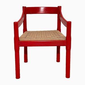 Italienische Vintage Red Wood Esszimmerstühle von Vico Magistretti für Carimate, 1959