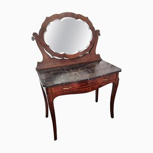 Italian Art Deco Burl and Marble Vanity Dressing Table, 1940s