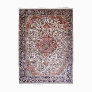 Floral Kashmir Carpet with White Mercerized Cotton