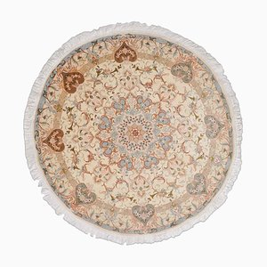 Beige Floral Tabriz Rug