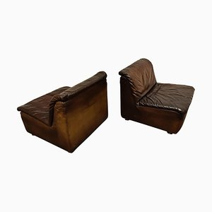 Vintage Leather Lounge Chairs from Durlet, 1970s, Set of 2