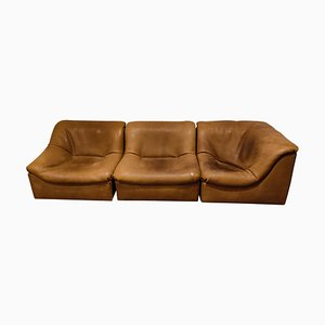Divano modulare vintage in pelle DS46 di de Sede, anni '70, set di 3