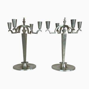 Art Deco Kerzenhalter aus Zinn, Schweden, 1940er, 2er Set