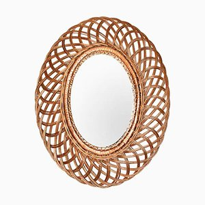 Mid-Century Modern Natural Fiber Oval Wall Mirror, France, 1960s