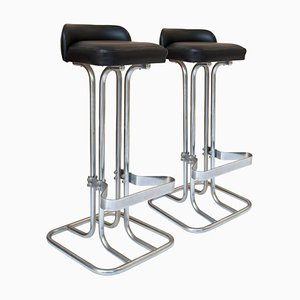 Mid-Century Chrome Leather Bar Stools, Italy, 1970s, Set of 2